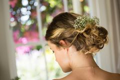 Close up of bride hair with flowers. Close up rear view of bride hair with flowers Royalty Free Stock Image