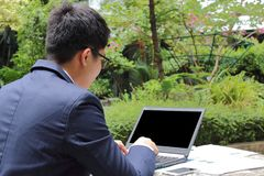 Close up rear view of handsome young business man is working with laptop in public nature background. royalty free stock photography