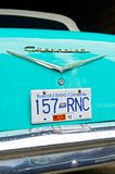 Close-up rear view of a turquoise colored Chevrolet royalty free stock images