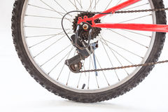 Close up of rear wheel bicycle Royalty Free Stock Photography