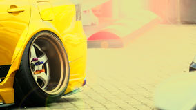 Close up,Rear wheel sports car. Stock Photo