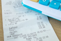 Close up of receipt paper Royalty Free Stock Images