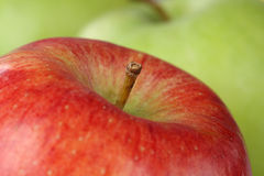 Close up red apple fruit. With green apples in the background Stock Photo