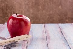 Close up red apple and toy airplane on wooden background. Flat lay, space for text Royalty Free Stock Photography