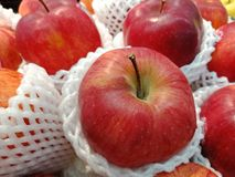 Close-up on red apples. Selling in market stock image