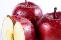 Close up red apples. Close up fresh red apples on white background stock photos