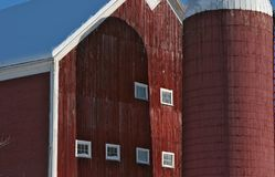 Close up of a barn with a cylo. Close up of a red barn with a cylo in the front in New Hampshire Royalty Free Stock Photography