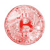 Macro. Red print bitcoin on white isolated background. For the design of virtual documents on the crypto currency. A square pictur stock image