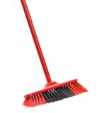 Close up of red black broom. Royalty Free Stock Images