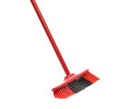 Close up of red black broom. Royalty Free Stock Image
