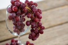 Close-up of red bunch of grapes in wine glass. On wooden table royalty free stock image