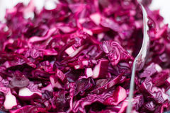 Close-up of red cabbage. And silver salad spoon Royalty Free Stock Photos