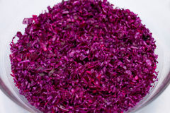 Close-up of red cabbage. And silver salad spoon full frame Royalty Free Stock Photos
