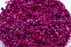 Close-up of red cabbage. And silver salad spoon full frame Royalty Free Stock Image