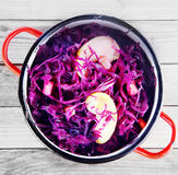 Close up Red Cabbage and Apple Salad on Pot Royalty Free Stock Photos