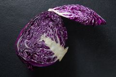 Close-up of red cabbage. On slate Stock Photo