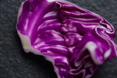 Close-up of red cabbage. On slate Royalty Free Stock Image