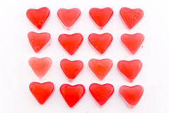 Close up red candy hearts in square Royalty Free Stock Photo