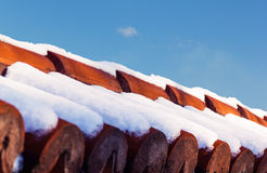 Close Up red ceramic roof shingles Royalty Free Stock Photos