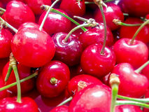 Close up of red cherries Royalty Free Stock Photography