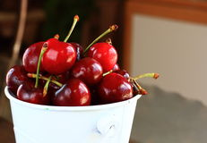 Close up of red cherries Royalty Free Stock Photos