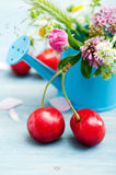 Close-up of red cherries and summer flowers Royalty Free Stock Photo