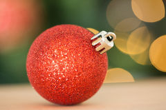 Close up of red christmas bauble Royalty Free Stock Photos