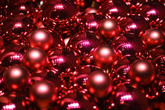 Close up of red christmas baubles for celebration new year 2017 stock photos