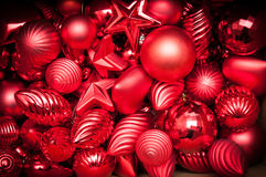 Close up of red christmas decorations. With a nice vignette Royalty Free Stock Photos