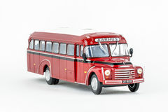 Close up of red classic vintage bus, scale model. Royalty Free Stock Photo