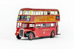 Close up of red classic vintage London double-decker bus, scale model. Stock Photos