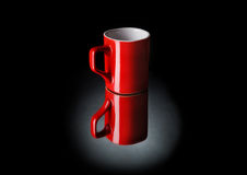 Close up of a red coffee cup on black Royalty Free Stock Photos