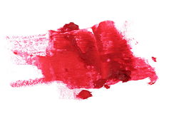 Close up red color lipstick stroke on white Royalty Free Stock Images