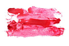 Close up red color lipstick stroke on white Royalty Free Stock Image