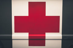 Close up of a red cross on a vintage army ambulance. Close up of a red cross on a vintage old army ambulance Stock Photography