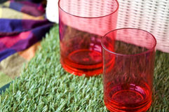 Close up red cups Stock Photography