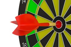 Close up red dart arrow on center of dartboard. 3d illustration Royalty Free Stock Image