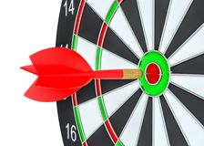 Close up red dart arrow on center of dartboard. 3d illustration Royalty Free Stock Photography