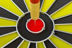 Close up red dart arrow on center of dartboard. 3d illustration Stock Images
