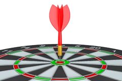 Close up red dart arrow on center of dartboard. 3d illustration Stock Photo
