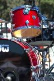 Close up of red drum set. Red drum set at park party in Santa Barbara 9/6/14 Stock Photos
