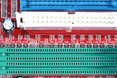 Close-up of red electronic circuit board with processor Royalty Free Stock Photography