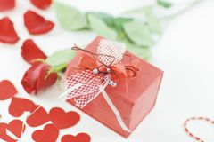 Close up. red gift box on blurred background.  Royalty Free Stock Photos