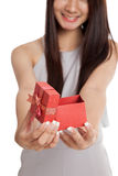 Close up of  red gift box in  young Asian woman hand Stock Images