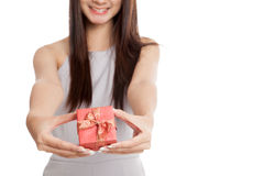 Close up of  red gift box in  young Asian woman hand Stock Photo