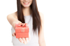 Close up of  red gift box in  young Asian woman hand Stock Image