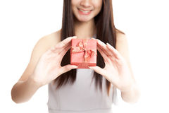 Close up of  red gift box in  young Asian woman hand Royalty Free Stock Photos