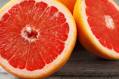 Close up of red grapefruit cut in half stock photo