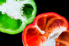 Close-up of red and green bell pepper Royalty Free Stock Photos