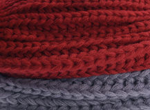 Close up of red and grey fabric Royalty Free Stock Photo